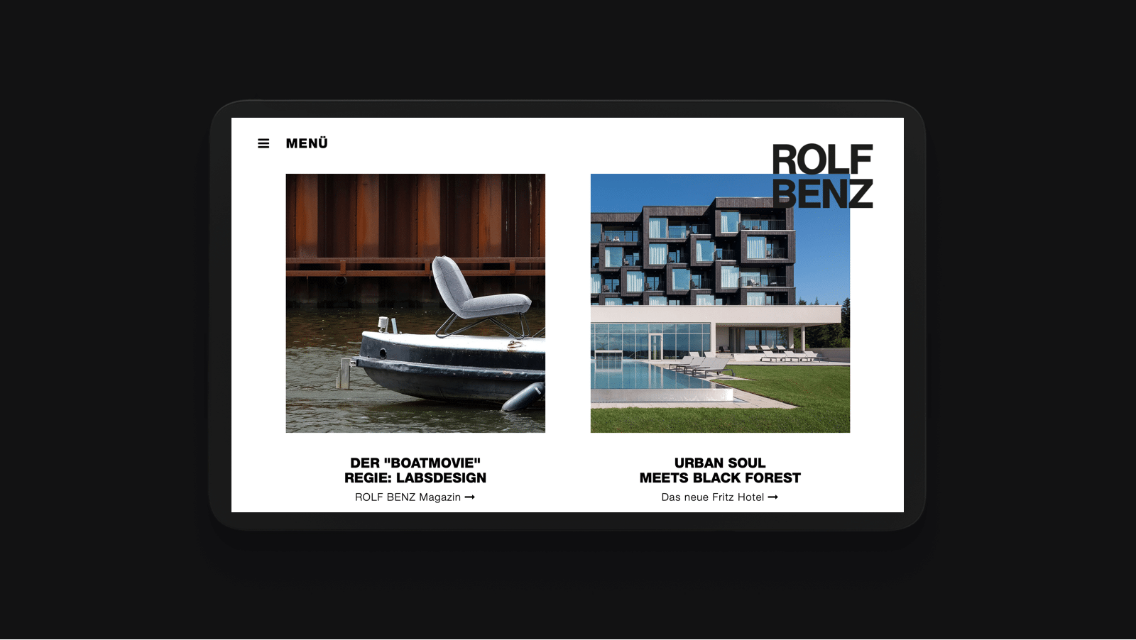 Rolf Benz Mockup as part of the digital brand presence